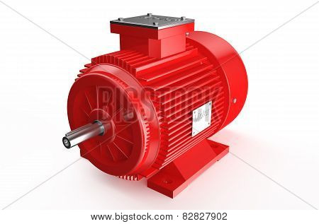 Industrial Red Electric Motor