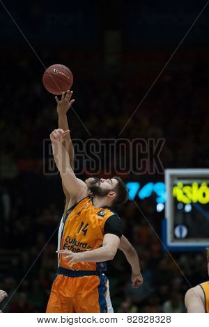 VALENCIA, SPAIN - FEBRUARY 11: Dubljevic 14 during Eurocup match between Valencia Basket Club and Lokomotiv Kuban Krasnodar at Fonteta Stadium on February 11, 2014 in Valencia, Spain