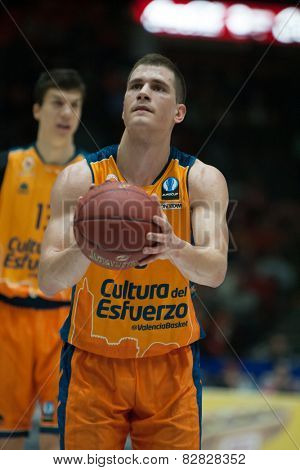 VALENCIA, SPAIN - FEBRUARY 11: Nedovic during Eurocup match between Valencia Basket Club and Lokomotiv Kuban Krasnodar at Fonteta Stadium on February 11, 2014 in Valencia, Spain