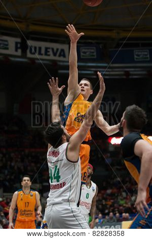 VALENCIA, SPAIN - FEBRUARY 11: Nedovic in action during Eurocup match between Valencia Basket Club and Lokomotiv Kuban Krasnodar at Fonteta Stadium on February 11, 2014 in Valencia, Spain
