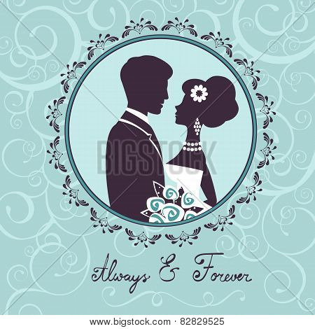 Elegant wedding couple in silhouette