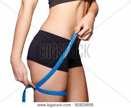 Girl Measuring Waist Upper Thigh