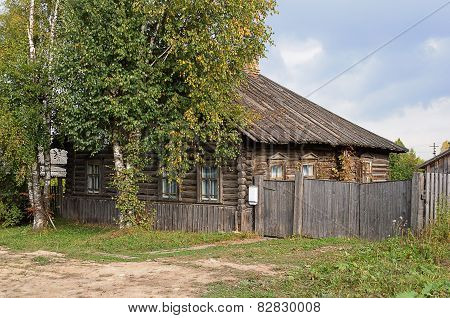 Old Country Log House With Wooden Roof