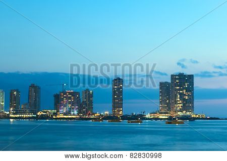 Modern Buildings in the Evening on the Shore in Iquique, Chile