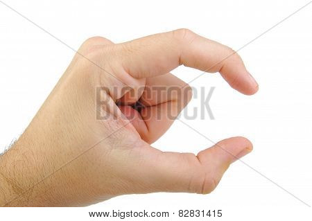 Hand showing a small size sign isolated on white background. Hand gesture