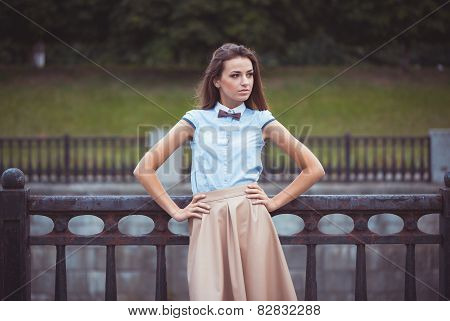 Young Beautiful, Elegantly Dressed Woman