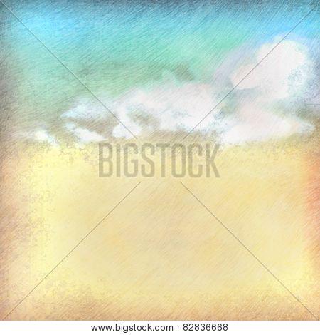 Vintage sky clouds old paper textured background