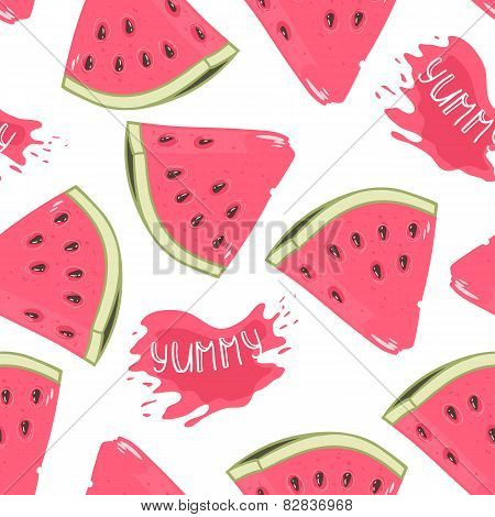 Slices Of Watermelon Seamless Pattern With Juice Drop