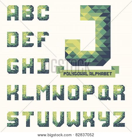 Full Polygonal Triangular Alphabet. Trendy Typeset For Your Design