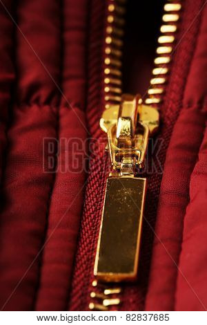 Zipper on clothes close up