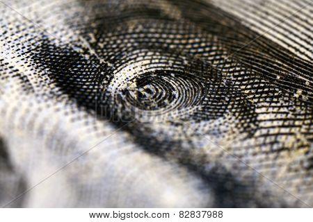 Portrait of Benjamin Franklin on hundred dollar banknote, macro view