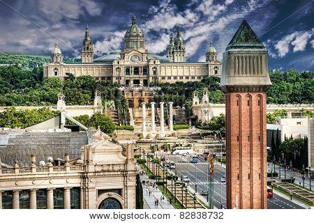 Placa De Espanya, the National Museum in Barcelona. Spain