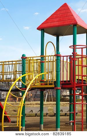 children playground at pubic park in summer season