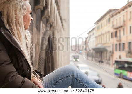 Tourist Girl Relaxing On European Stairs