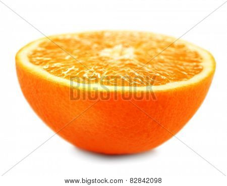 Juicy half of orange isolated on white