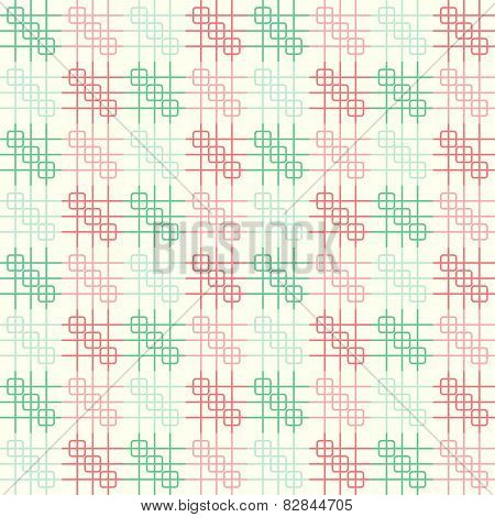 Red And Green Rounded Corner And Line Pattern On Pastel Background