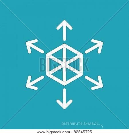 Content distribution concept - flat design symbol