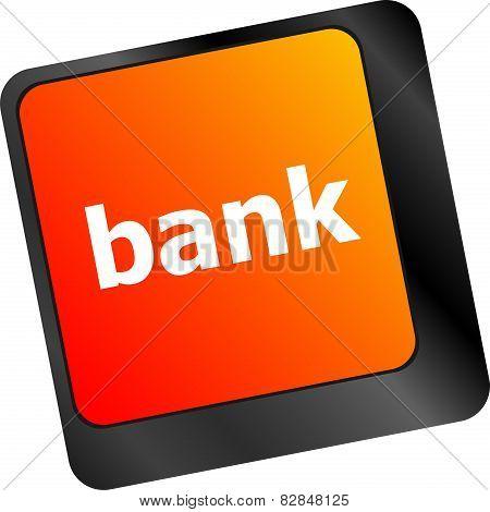 Bank Word On Keyboard Key, Notebook Computer