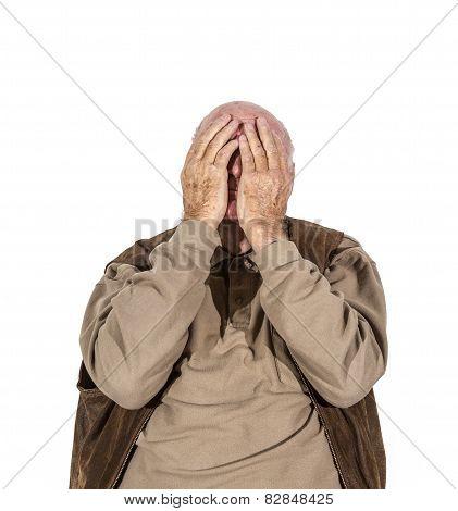Elderly Retired Man In Sorrow