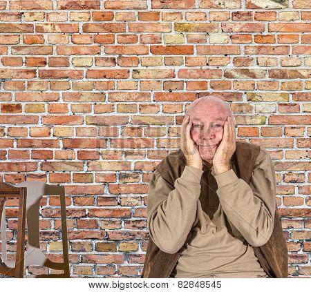 Portrait Of Elderly Man In Sorrow