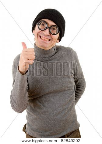 geek man going thumbs up, isolated on white