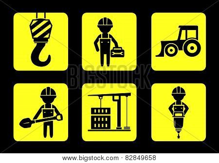 set yellow construction icon on flat design style