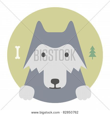 Animal Set. Portrait In Flat Graphics. Wolf
