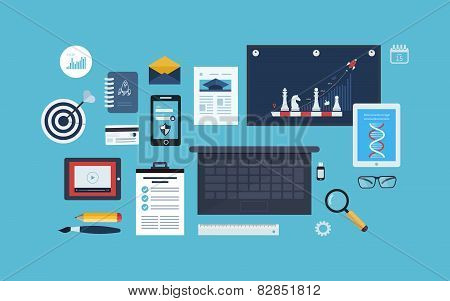 Flat design vector illustration concept icons set of business workflow