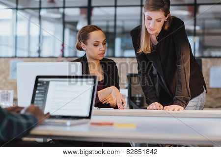 Coworkers Going Through Paperwork Together