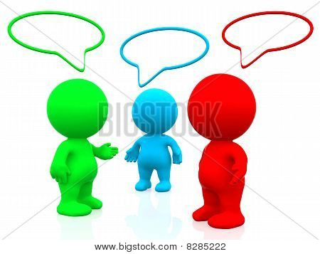 3D Colourful People Talking