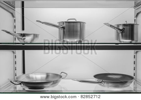 Kitchen Cookware In Shop Window