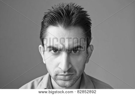 Angry young man portrait