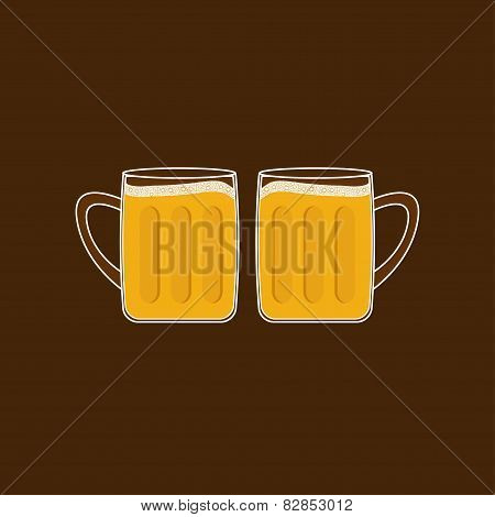 Two Beer Glasses Mug With Foam Cap Froth Bubble. Flat Design