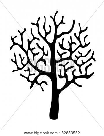 black tree without leaves on white background, vector illustration