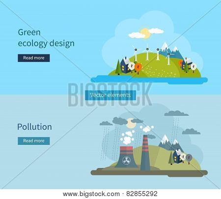 Flat design vector concept illustration with icons of green ecology and pollution