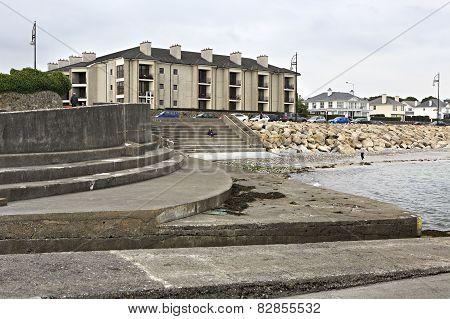 Galway promenade and the Atlantic Ocean.