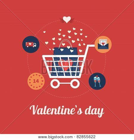 Flat design modern icons vector illustration set of online shopping and mobile marketing on Valentin