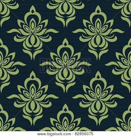 Abstract orchid flowers in damask seamless pattern