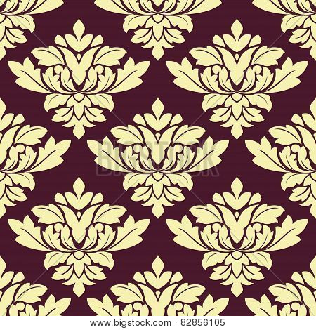Seamless beige densely floral pattern on violet background
