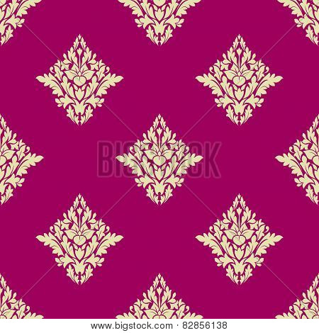 Delicate beige floral seamless pattern on hot pink background