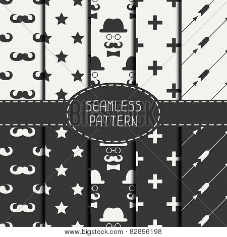 Set of monochrome hipster fashion geometri seamless pattern with mustache. Collection of paper for s