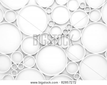 Abstract White 3D Background With Circles Pattern