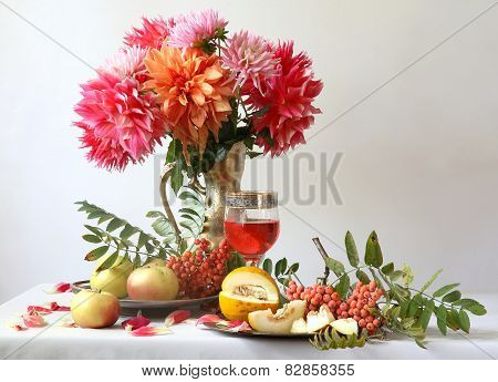 Still-life With Wine, A Melon, Apples And A Bouquet A Dahlia