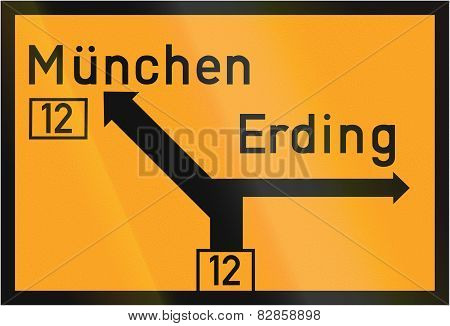 Direction Sign To Munich And Erding 1937