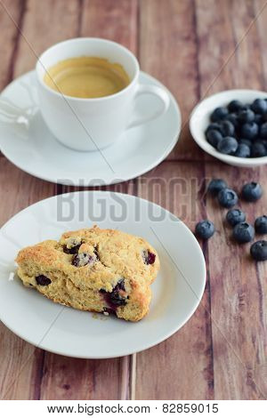 Blueberry Scones with a cup of coffee