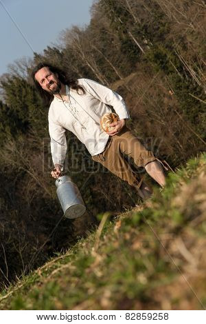 Traditional Grower With Milk Can And Bread