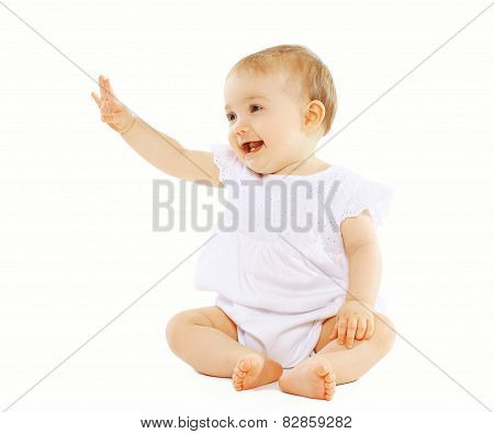 Cute Baby On A White Background