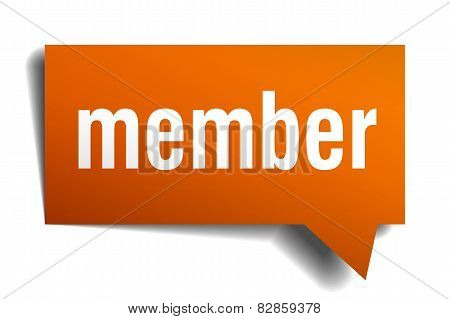 Member Orange Speech Bubble Isolated On White