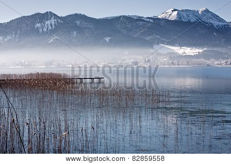 Winter at lake Tegernsee, Bavaria, Germany