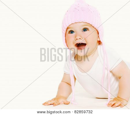 Portrait Laughing Sweet Baby In Hat